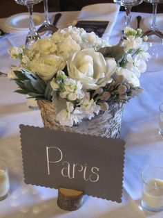 Centerpiece flowers gray and white rustc