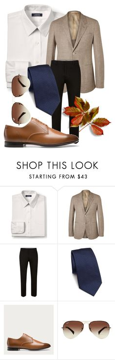 """Wedding IV"" by velvetgirl10 on Polyvore featuring Lands' End, Topman, Armani Collezioni, Bally, Ray-Ban, men's fashion, menswear, Fall and fallwedding"