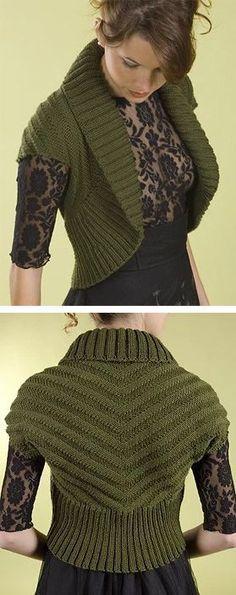 Free knitting pattern for Shawl Collar Chevron Shrug