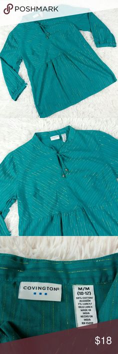 """Holiday 3/4 sleeve peplum top Beautiful teal/green peplum top with gold accent. Perfect for the Christmas!! Pair with jeans and flats for your next holiday shindig! Modest and classy. Great preloved condition with no visible flaws.   measurements are approximate Bust 20"""" Length 27"""" (collar to hem)   ;056 Covington Tops Tees - Long Sleeve"""