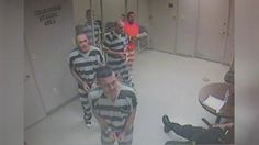 A prison guard is alive after inmates at Weatherford District Courts Building in Texas broke out of their cell to help him. Report by Lydia Batham.