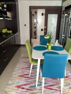 Halı, Mavi, Mutfak, Mutfak masası, Yeşil Dinning Table, Cozy House, Kitchen Organization, Decoration, Kitchen Design, Sweet Home, House Design, Living Room, Modern