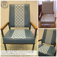Vinyl chair painted with Aubusson Blue Chalk Paint™ by Annie Sloan! I used the Hollywood Squares Stencil by Royal Design Studio  with Pure White Chalk Paint™, the frame is painted in Graphite | by Carte Blanche Upcycled Furniture & Accessories