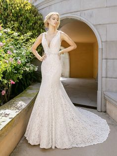 Moonlight Couture H1343 sexy lace low V-neck mermaid wedding dress with beading