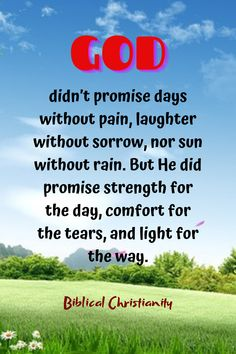 GOD didn't promise days without pain, laughter without sorrow, nor sun without rain. But He did promise strength for the day, comfort for the tears, and light for the way.
