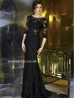A-line Bateau Half sleeve Elastic Woven Satin Evening Gown With Beaded Evening Dresses Online, Black Evening Dresses, Cheap Evening Dresses, Evening Gowns, Dress Online, Evening Party, Cocktail Dresses Online, Womens Cocktail Dresses, Wedding Party Dresses