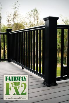Porch: maybe black railing? Fairway Composite Railing made with Fibrex Material Front Porch Railings, Deck Railings, Aluminum Deck Railing, Porch Trim, Black Railing, Railing Ideas, Balcony Railing, Banisters, Vinyl Railing