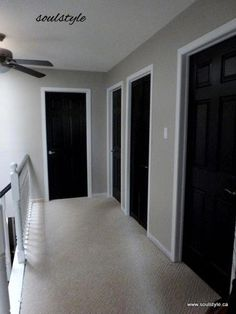 tgis is our house! Black doors, paint all trim white and then walls Revere Pewt. , tgis is our house! Black doors, paint all trim white and then walls Revere Pewter! Eventually replace old carpet with hand scraped laminate :). Interior Door Colors, Painted Interior Doors, Black Interior Doors, Painted Doors, Replacing Interior Doors, Black Painted Walls, Interior Paint, Luxury Interior, Interior Design