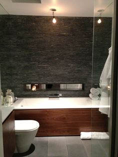 like tub, pendants, grey slate tiles.  Would love to a feature like this in my bathroom!