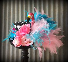 Kentucky Derby Mini Top Hat, Alice in Wonderland Flamingo Mini Top Hat,Mad Tea Party, Alice in Wonderland, Mad Hatter hat, pink flamingo