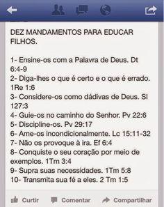 Mulher de Deus : Educação Cristã: 10 mandamentos para educar filhos