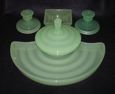 Bagley jadite glass trinket set 3008 'Filey' pattern in green Crystopal with cigarette box (no lid) c.1946
