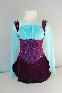 Girl's Purple Velvet Figure Skating Dress