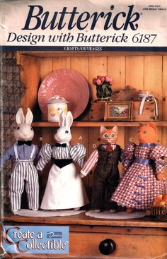Butterick 187 Create A Collectible Victorian Rabbit and Cat Dolls and Four Outfits