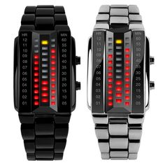 Luxury Lovers' Wristwatch Waterproof Men Women Stainless Steel Red Binary Luminous LED Electronic Display Sport Watches Fashion //Price: $32.78 & FREE Shipping //