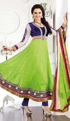 G3 Fashions Blue Lime Chiffon Party Wear Designer Salwar Suit  Product Code : G3-LSA105049 Price : INR RS 4654