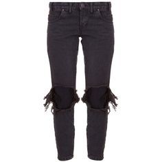One Teaspoon Fox Black Freebird Skinnies ($88) ❤ liked on Polyvore featuring zipper skinny jeans, destroyed skinny jeans, ripped skinny jeans, distressed jeans and distressing jeans