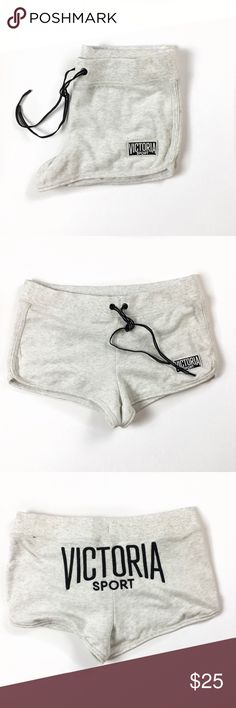 Victoria Secret Sport Sweat Shorts Love these shorts with the Victoria Sport Logo On The Back. You can pair these with the black or grey hoodie  I'm selling in my closet! Never worn. New condition. Victoria's Secret Shorts