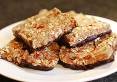 Gluten Free Almond Butter Flapjacks Dipped in Dark Chocolate
