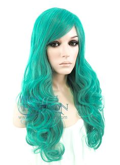 Heat Resistant Long Curly Turquoise Green Fashion Stunning Hair Wig ZB107