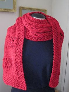Airy Yet Warm - Free bulky yarn knitted scarf pattern.   This pattern uses three different pattern stitches; seed stitch, stockinette stitch, and openwork stitch.