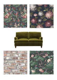My Play Room and Office Revamp - Melanie Jade Design Bold Wallpaper, Unique Wallpaper, Nursery Wallpaper, Narrow Bookshelf, Floral Sofa, Green Velvet Sofa, Sustainable Furniture, Hotel Interiors, White Rooms