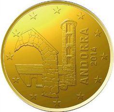 """ANDORRA 20 cent Al centro la chiesa di Santa Coloma; a destra il millesimo di conio e la scritta """"ANDORRA"""". Intorno 12 stelle a cinque punte rappresentanti l'Unione Europea. Autore: Moles Disseny."""