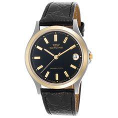 Glycine 3690-39-Sap-Lbk9 Men's Black Genuine Leather Black Dial Gold-Tone Accent Watch