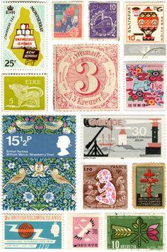 Selos vintage de várias partes do mundo
