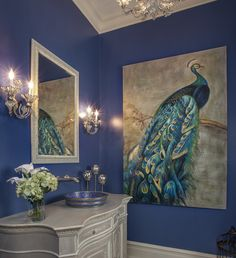 Lovely wall in this powder room. Lauren Nicole Designs Bathroom Interior Design in Charlotte, NC, Waxhaw Peacock Bathroom, Peacock Room Decor, White Bathroom, Peacock Living Room, Peacock Blue Bedroom, Blue Bathroom Decor, Copper Bathroom, Modern Bathroom, Bedroom Decor