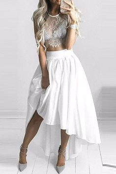 Two Pieces Lace White Short Prom Dress, High Low Evening Dress,Fashion Prom Gowns,M40