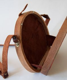 Cherry Cross Stitched Oak Wood Bag by Grav Grav Wooden Purse, Leather Projects, Leather Working, Leather Craft, Bag Making, Suede Leather, Clutch Bag, Saddle Bags, Wood Crafts