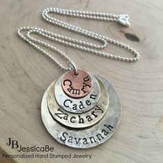 Hand Stamped Necklace  Personalized Necklace  by JessicaBe on Etsy