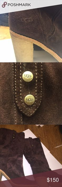 UGG boots Chocolate brown suede, chunky heel, slip on, women's, size 8 UGG Shoes Heeled Boots