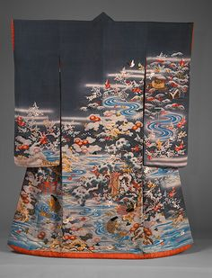 Outer robe (uchikake) with scenes of filial piety, Edo period (1615–1868), late 18th century  Japan  Resist-dyed and embroidered silk crepe