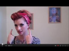 Vintage Hair Tutorial pinup bandana updo Rosie the Riveter by CHERRY DOLLFACE