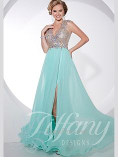 V-neck Beaded Silky Chiffon Floor Length Prom Dress By Tiffany Designs 16071
