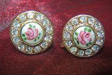 Vintage KARU Guilloche' Enamel Crystal Rhinestone Earrings, Signed