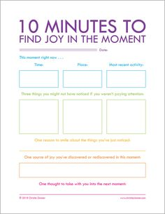 Printable Journal Page by Christie Zimmer - 10 Minutes To Find Joy In The Moment Therapy Worksheets, Therapy Activities, Counselling Activities, Mental Health Activities, Journal Writing Prompts, Journal Pages, Daily Journal, Nature Journal, Art Journals