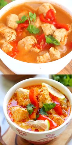 Creamy Thai Coconut Chicken Soup - the easiest and fastest Thai coconut chicken recipe ever, made in Instant Pot. Takes only 15 mins and dinner is ready Cheap Clean Eating, Clean Eating Snacks, Asian Recipes, Healthy Recipes, Ethnic Recipes, Thai Coconut Chicken, Thai Chicken, Rotisserie Chicken, Le Diner