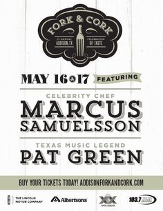 Reserve your place at the table for Addison's Fork & Cork…the culinary event designed for the Epicurious…May 16th & 17th. You'll sample bites from the best chefs in the DFW area. Sip offerings of imported and craft beer, wine and spirits. Learn tips & tricks from world-renowned chef Marcus Samuelsson and listen to Texas Troubadour Pat Green.