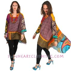 One-of-a-kind originals urban hippie-chic Tunic or Dress using Nothing-Matches fabrics for stunning hi-low generously designed tunic top or dress.