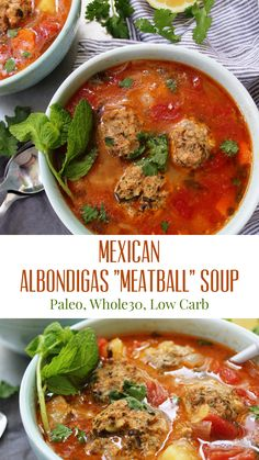 """Made in one pot, this paleo soup recipe will… Mexican Albondigas """"Meatball"""" Soup! Made in one pot, this paleo soup recipe will be a new family favorite! It's hearty and easy to make year round! Paleo Soup, Healthy Soup Recipes, Mexican Food Recipes, Real Food Recipes, Cooking Recipes, Keto Recipes, Whole30 Soup Recipes, Milk Recipes, Vegetarian Recipes"""