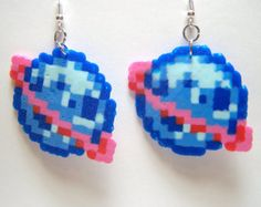 planetoid perler earrings, celestial space theme, fish hook drop earrings, original pixel art, perle handmade crafts Your place to buy and sell all things handmade Perler Beads, Perler Earrings, Perler Bead Art, Fuse Beads, Beaded Earrings, Drop Earrings, Perler Bead Designs, Hama Beads Design, Perler Bead Templates