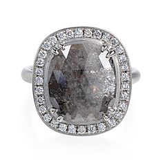 Greenwich Jewelers | Anne Sportun Cushion-Cut Grey Diamond Ring
