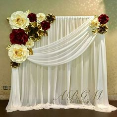 Room curtain design - - You are in the right place about Decoration lights Quinceanera Decorations, Wedding Stage Decorations, Backdrop Decorations, Birthday Decorations, Flower Decorations, Paper Flower Backdrop Wedding, Backdrop With Flowers, Gold Backdrop, Reception Backdrop