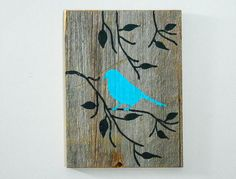 Reclaimed Barnwood, Hand-Painted Wood Wall Art Rustic Art -Turquoise Cottage Chic Decor - Bird on Branch Silhouette Design - Wood Art Painted Wood Walls, Painted Signs, Wood Wall Art, Hand Painted, Barn Wood Signs, Reclaimed Barn Wood, Old Wood, Wooden Signs, Art Turquoise