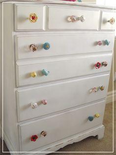 Dresser idea for Josie ... Cute knobs... Made from a fifteen dollar dresser