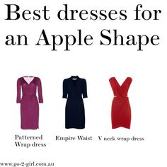Wrap tops, v necks and empire waist lines help draw the attention up and away from the tummy on an apple shaped figure. Apple Shape Outfits, Apple Shape Fashion, Dresses For Apple Shape, Apple Body Type, Apple Body Shapes, Best Formal Dresses, Nice Dresses, Looks Plus Size, Types Of Fashion Styles