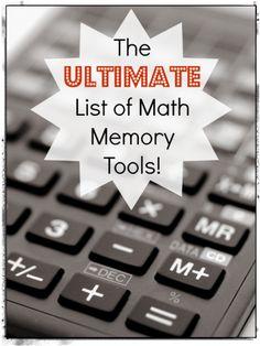Math memory tools list. So excellent!